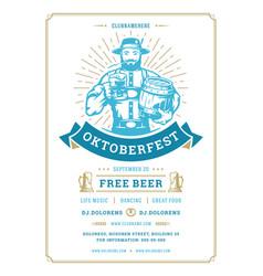 Oktoberfest flyer or poster retro typography vector
