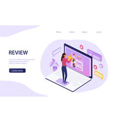 Online review concept with woman doing rating vector