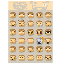 Papa emoji icons vector