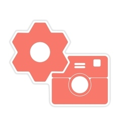 paper sticker on white background camera settings vector image