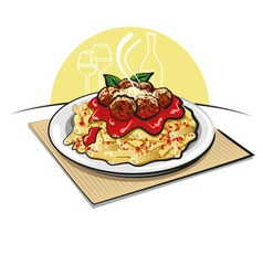 Pasta with meatballs vector