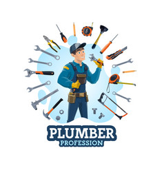 Plumbing work tools and man plumber profession vector