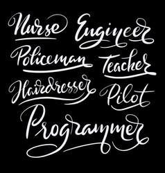 programmer and engineer hand written typography vector image