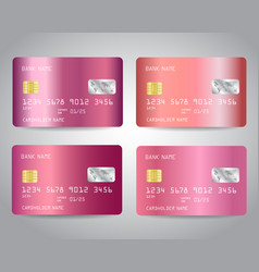 Realistic rose gold credit cards set vector