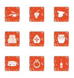 Religious life icons set grunge style vector