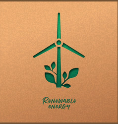 Renewable energy cutout concept green wind mill vector