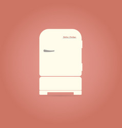 Retro refrigerator flat icon vector