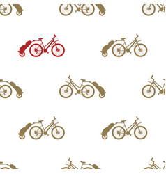 seamless pattern bike trailer vector image