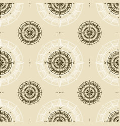 seamless vintage compass pattern vector image