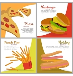 Set banners with unhealthy food junk food vector