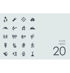 Set hiking icons vector