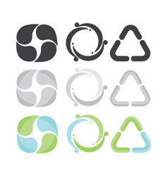 set of 3 recycle icons gray green and blue vector image