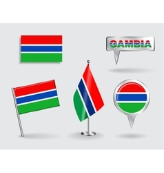 Set of Gambian pin icon and map pointer flags vector