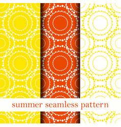 set of orange abstract seamless pattern vector image