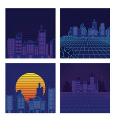 Set of sci fi backgrounds vector