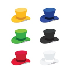 Six Colors Top Hat Flat Style vector image