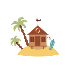 Small wooden hut on tiny sand island with palm vector
