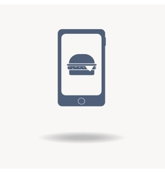 Smartphone icon with burger icon on the screen vector