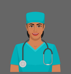 smiling doctor woman with stethoscope vector image