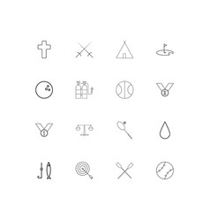 Sport fitness and recreation linear thin icons vector