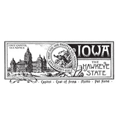 The state banner of iowa the hawkeye state vintage vector