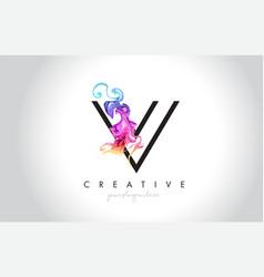 V vibrant creative leter logo design vector