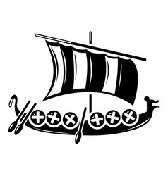 Viking ship icon simple style vector