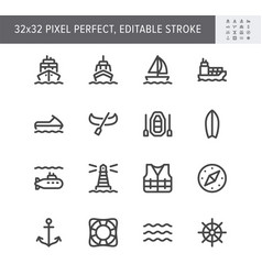water transport simple line icons vector image