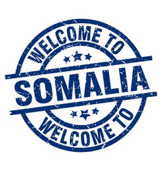 Welcome to somalia blue stamp vector