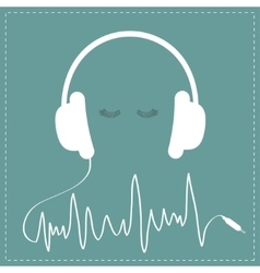 White headphones with cord in shape of cardiogram vector