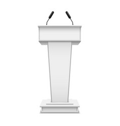 white realistic podium with microphone or pulpit vector image