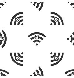 Wifi locked sign icon isolated seamless pattern vector