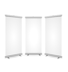 Blank Roll Up Banner 3 Display View Template vector image