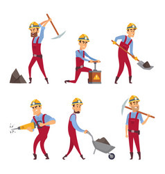characters set of miners cartoon characters vector image vector image