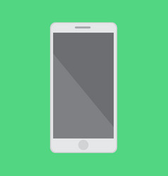 flat smartphone with isolated green background vector image vector image