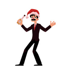 man in santa claus hat blowing whistle corporate vector image