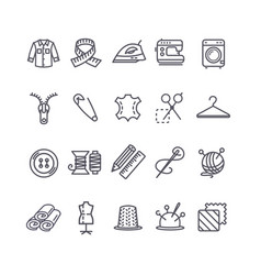 Sewing and needlework tool black thin line icon vector