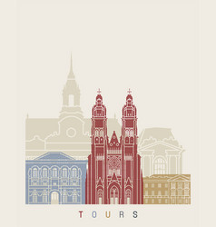 tours skyline poster vector image vector image