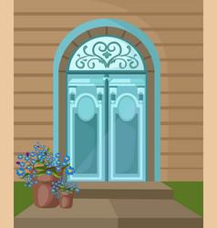 vintage entrance door facade background vector image