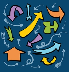 Collection of brightly colored arrows on a blue vector image