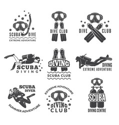labels or logos for diving club pictures vector image vector image