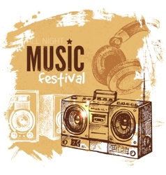 Music vintage background Splash blob retro design vector image