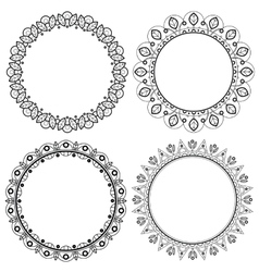Set of spring floral round frames with leaves vector image vector image