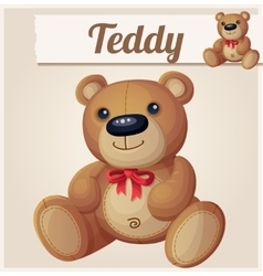 Teddy bear with red bow vector image