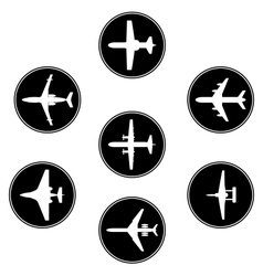 collection different airplane silhouettes vector image