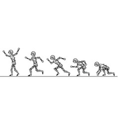 humanoid robot step running on white background vector image vector image