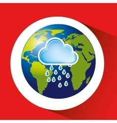 Map with icon rain cloud weather graphic vector