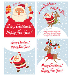santa claus and christmas reindeer vector image vector image