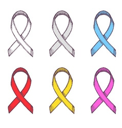 Support ribbons set vector image