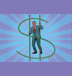 african businessman behind bars money vector image